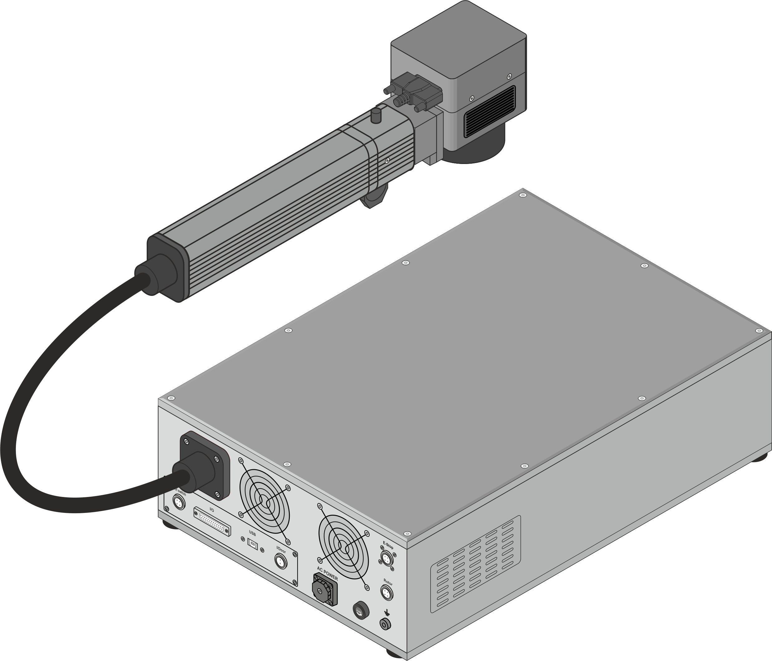 Marcadora láser Datamark ML-200 grabando piezas de acero
