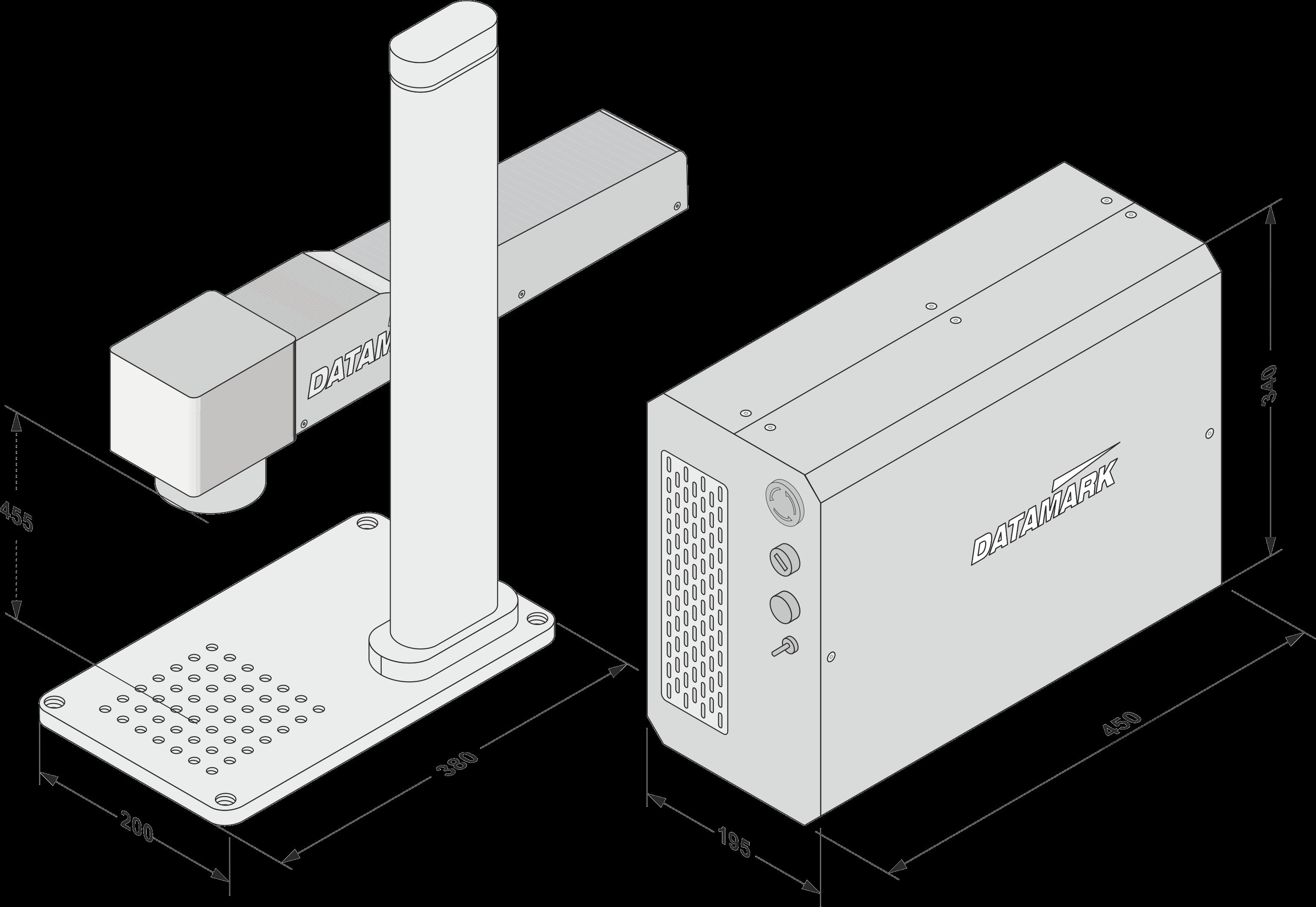 Dimensiones de la maquina de marcaje Datamark ML-200