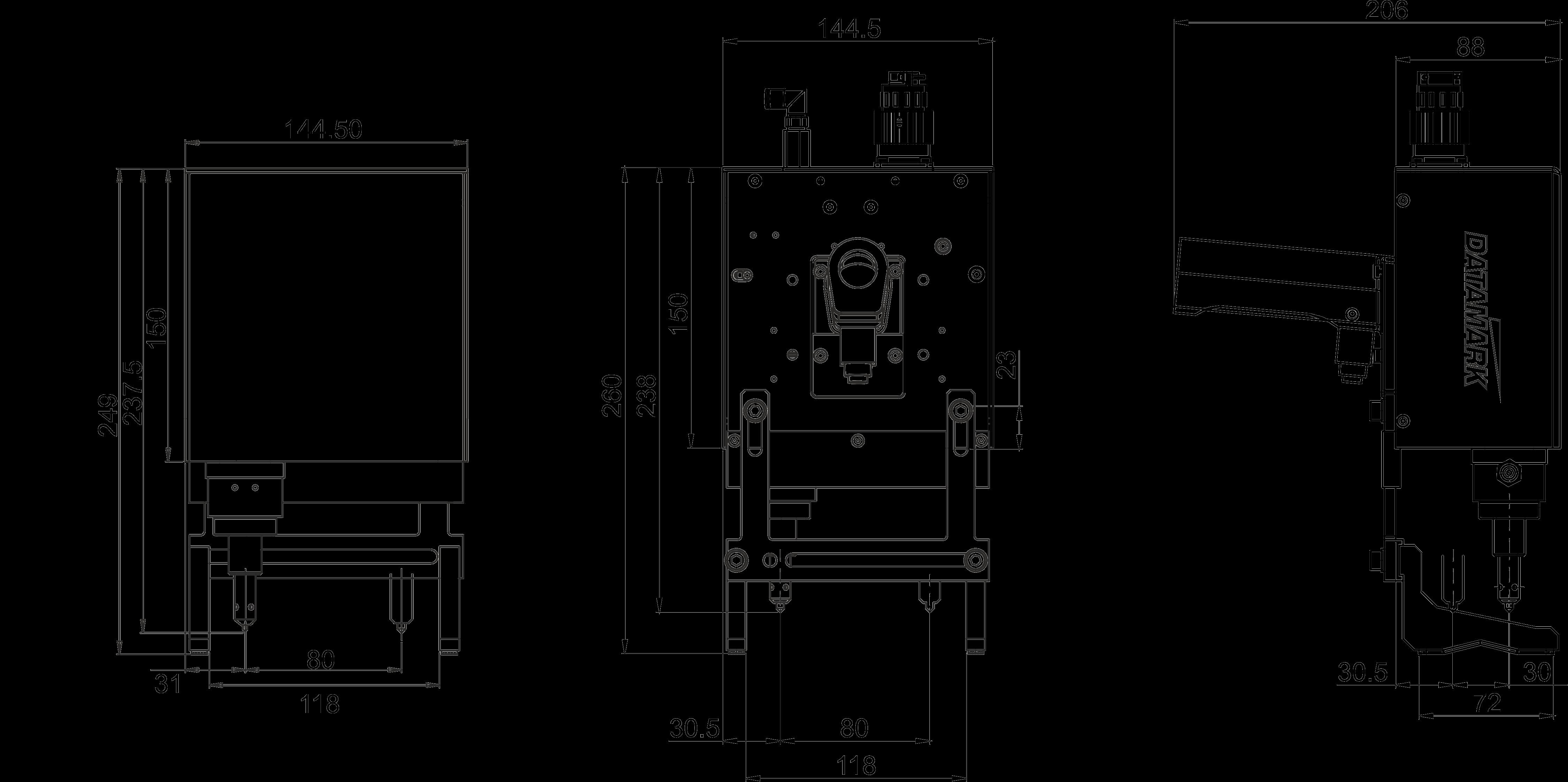 Dimensiones marcadora Datamark MP-80